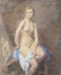 seated nude in a pensive mood by walter ernest webster