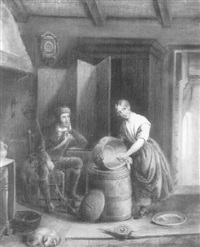magd und jäger in bäuerlichem interieur by ver meulen