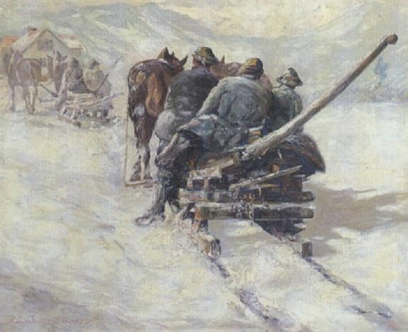 oberbayerische holzfäller mit pferdeschlitten in verschneiter gebirgslandschaft by otto ackermann pasegg