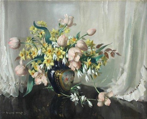 spring flowers in french porcelain tulips and narcissi by vernon ward