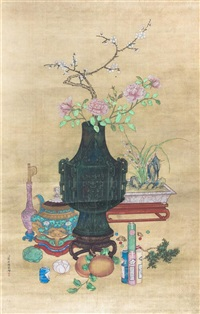 a chinese ink and color painting on silk by jiang tingxi