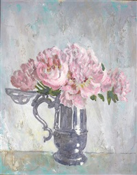 still life of roses in a pewter tankard by cecil beaton