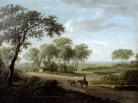 a drover with cattle on a track, a cottage beyond by charles towne the younger