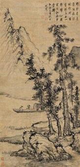 泛舟图 (landscape) by shen zhou