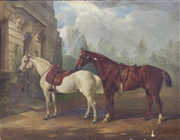 two saddled hunters by edward lloyd