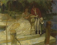 zwei damen bei einer steinbank am seeufer by ferdinand dorsch