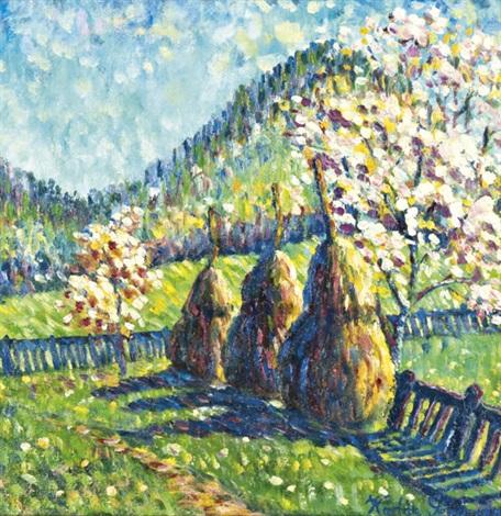 tavaszi kert szénaboglyákkal by géza kádár