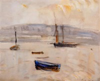 boats at runswick bay with whitestones cliff in the background by william frederick