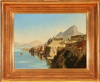 gibraltar from the queen of spain's chair by f. shore