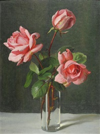 a still life of pink roses in a vase by john bulloch souter