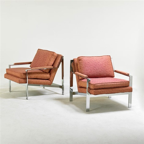 Angle Bar Lounge Chairs, High Point (pair) By Milo Baughman
