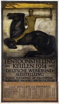 deutsche werkbund-austellung tentoonstelling keulen staatsspoorwegen kortste route (on 2 joined sheets) by peter behrens