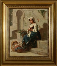young italian mother knitting near a fountain by david jacobsen