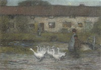 children and geese beside a stream (+ a kiss goodnight; pair) by mark