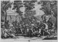 der triumph des bacchus, mit dem bacchusknaben auf von raubtieren gezogenem wagen, silen, satyrn, elefanten, esel etc. vor antiker tempelanlage by petrus aquila