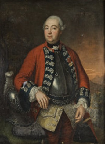 portrait of a military officer wearing a red coat with dark blue and lace froggings above a breast plate a plumed helm beside him by david morier
