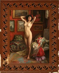 a female nude posing by michael adams