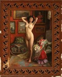 a female nude posing by michael adams