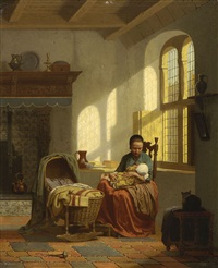 holländisches interieur mit stillender mutter by charles joseph grips