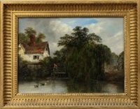 figure on a bridge with a cottage in a wooded river landscape; two figures on the shores of a lake with mountains beyond (pair) by robert burrows