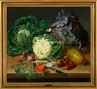 a still life with cabbage, onions and other herbs on a table by johannes ludwig camradt