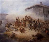 österreichische kavallerie im gefecht gegen bayerische infanterie in einem dorf by friedrich (fritz) l' allemand