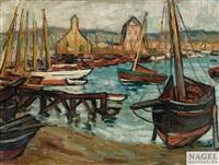 Langustenschiffe im Hafen, 1906