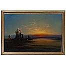 egyptian night- ruins and sunset by james hamilton