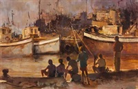 boys fishing on the harbour wall by ruth squibb