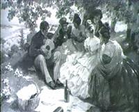 frohliche biedermeier - gesellschaft beim picknick am hang uber der donau bei wien by rudolf august hoeger