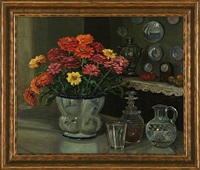 still life with flowers in a vase by olga aleksandrovna (princess of storfyrstinde)
