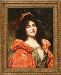 portrait of a woman in orange dress by camillo melnick