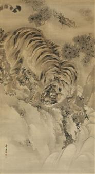 tiger an einem sturzbach, unter einem kiefernzweig by renzan