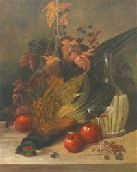 jagdliches stilleben mit fasan, weinlaub, äpfeln und weinflasche by joseph correggio
