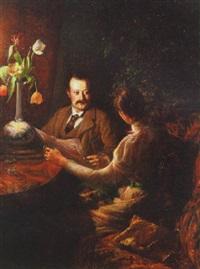 interior med et ægtepar i samtale, aftenstemning by ingeborg martha kolling rode