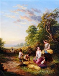 crossing the stream (+ the tired gleaners; pair) by john anthony puller