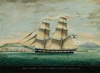 brigg wittow captn p j kräft entering smyrna 1861 by raffaele corsini