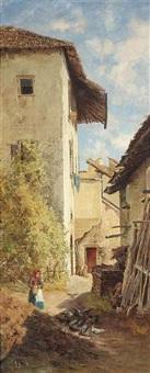 bäuerin im hof eines südlichen landguts (+ jäger an der treppe eines südlichen schlosses; pair) by eduard ameseder