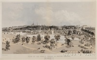 view of the public garden & boston common from arlington st. by john henry bufford