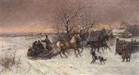 ankunft des pferdeschlittens by thaddaus von ajdukiewicz