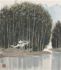 silver birch trees and goose pond by wu guanzhong