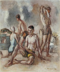 figures on a beach by simkha simkhovitch