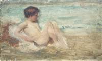 boy on the sea shore by john macallan swan