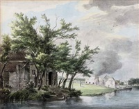 lime kilns along the leidse vaart, near hillegom by hermanus van brussel