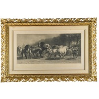 on of men and horses (elaborate gilded frame) by rosa bonheur