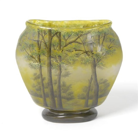 Daum Studio Nancy France Painted Glass Vase With Tree By Daum On