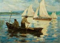 angler und segelboote auf einem see by hugo vogel