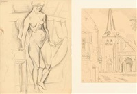 standing nude (+ motif from rouen, smaller; 2 works) by ellen fischer