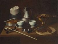 tabakstillleben mit teekanne, koppchen und zuckerhut by e.r. lautter