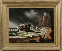 shipwreck off a rocky coast with figures gathering debris and distant lighthouse by thomas chambers